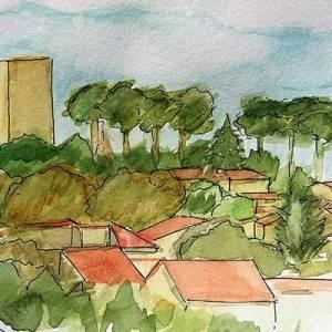 Association OBOZART, stage de carnet de vouyage, pastel, peinture, aquarelle à Gignac, Hérault